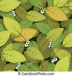 olhos, fundo, folhas, seamless, verde, animal, dentro