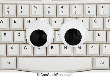 olhos, googly, teclado