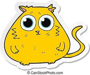 olhos, grande, adesivo, gato, bonito, caricatura