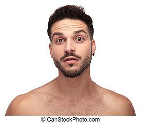 olhos, grande, olhar, curioso, barba, despido, homem