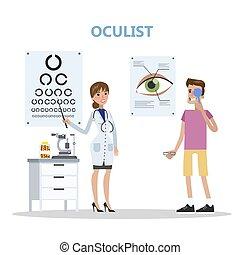 olhos, hospitalar, jovem, exame, fazer, homem