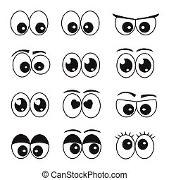 olhos, jogo, caricatura