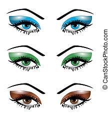 olhos, jogo, ilustração, femininas