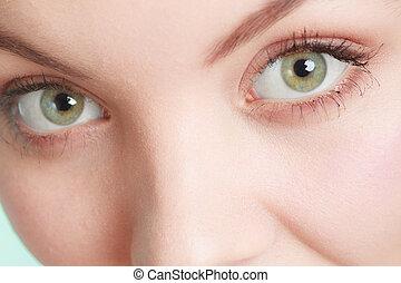 olhos largos, mulher, abertos, closeup.