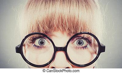 olhos largos, mulher, assustado, open.