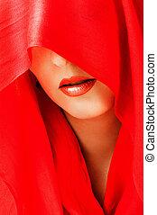 olhos, lips., vermelho, excitado, coberto, echarpe