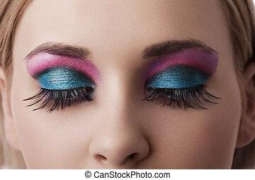 olhos, maquilagem, closeup