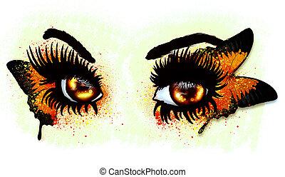 olhos marrons, com, borboleta