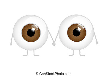 olhos marrons, dois, segurar passa, caricatura