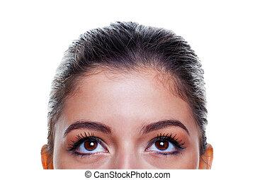 olhos marrons, olhar