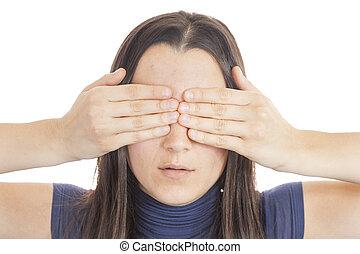 olhos, mulher, dela, cobertura, jovem, mão