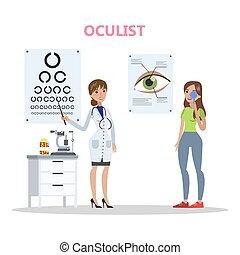 olhos, mulher, hospitalar, jovem, exame, fazer