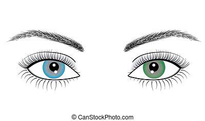 olhos, mulher, ilustração