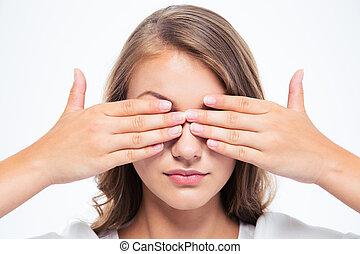 olhos, mulher, jovem, dela, cobertura