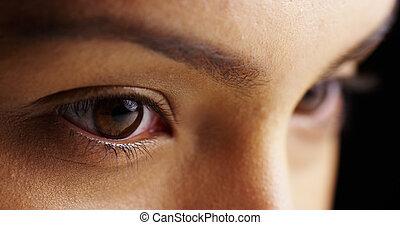 olhos, mulher, mexicano, mal-humorado