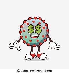 olhos, personagem, caricatura, vírus, símbolo, mascote, dinheiro