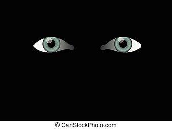 olhos, pretas, fundo, Mal