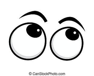 olhos rolantes, caricatura