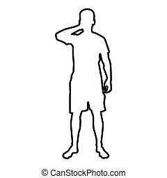 olhos, seu, silueta, esboço, cor, ilustração, homem preto, mãos, frente, encerramento, vista, ícone