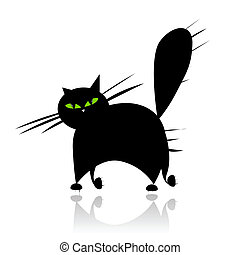 olhos, silueta, gato grande, pretas, verde