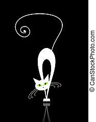 olhos, silueta, gato, pretas, verde branco