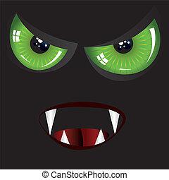 olhos, verde, mal, rosto