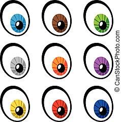 olhos, vetorial, caricatura