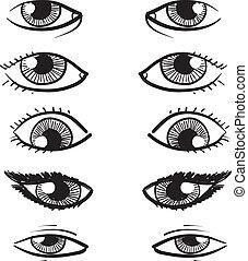 olhos, vetorial, esboço