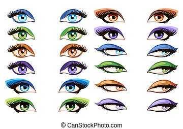 olhos, vetorial, femininas