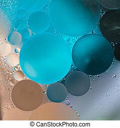 olie, achtergrond, beige, helling, blauwe , grijs, druppels, -abstract, water
