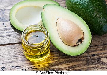 olie, avocado, space., hout, achtergrond, kopie