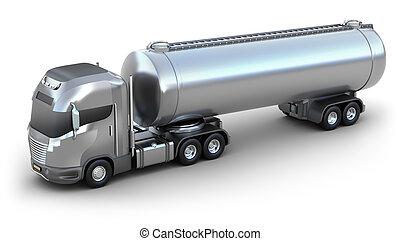 olie, beeld, vrijstaand, tanker, truck., 3d