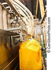 olie, benzine, industrie, machine, vullen, of