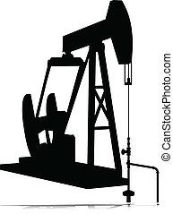 olie, domkraft, vektor, silhuetter