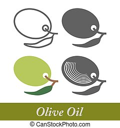 olie, elements., etiketten, vastgesteld ontwerp, olive