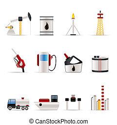 olie, en, benzine, industrie, iconen