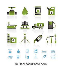 olie, en, benzine, industrie, voorwerpen