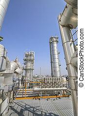 olie, en, chemisch, industrieel planten aan