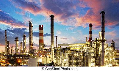 olie en gas, industrie, -, raffinaderij, op, schemering, -, fabriek, -, petrochemische installatie