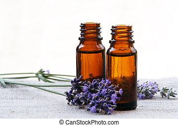 olie, flasker, lavendel, aroma