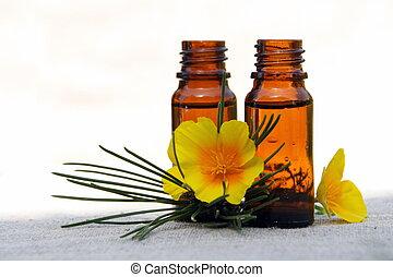 olie, flessen, bloem, dennenboom, aroma