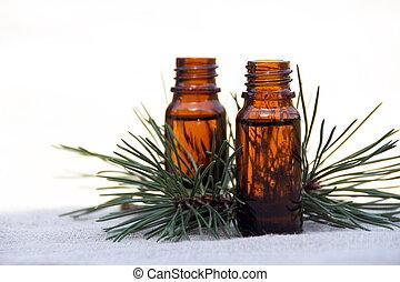 olie, flessen, dennenboom, aroma