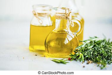 olie, flessen, gezonde , vetten, verse kruiden, oliën, olive, organisch, kruiden