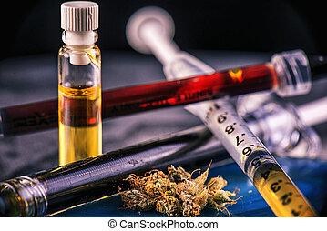olie, geassorteerd, extractions, cbd, hars, cannabis, leven...