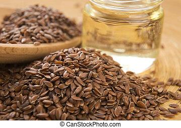 olie, houten, vlas, zaden, linseed, achtergrond