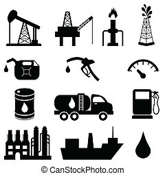 olie industrie, pictogram, set
