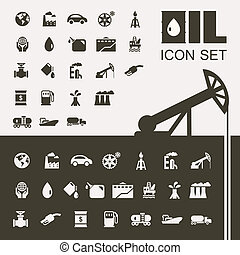 olie industrie, plat, pictogram, set
