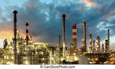 olie industrie, -, raffinaderij, tijd, plant