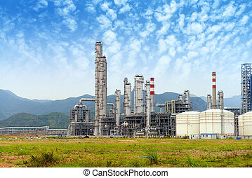 olie industrie, verwerking, gas, factory., landscape