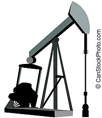 olie, kunst, klem, boortoren, logo, of